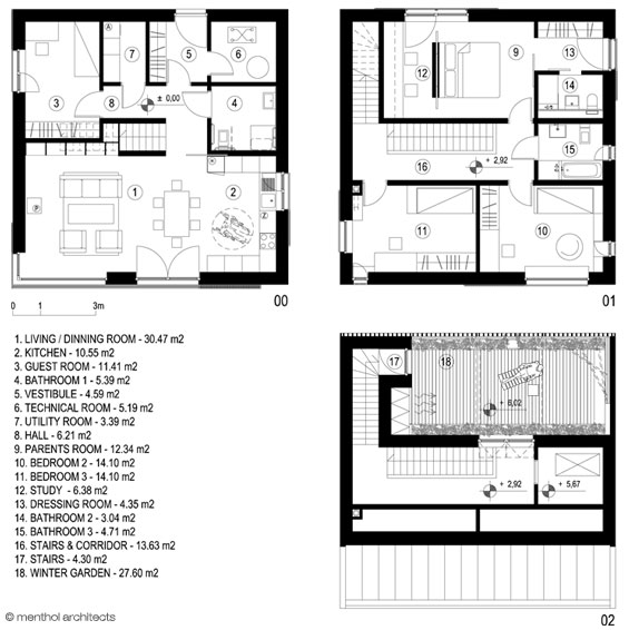 Menthol passive house 39 sky garden 39 for Garden home floor plans